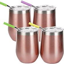 WELTRXE Weinbecher, Weingläser aus Edelstahl, vakuumisoliertes Weinglas mit Deckel, 4 × tragbarer Becher für Wein 350 ml R...