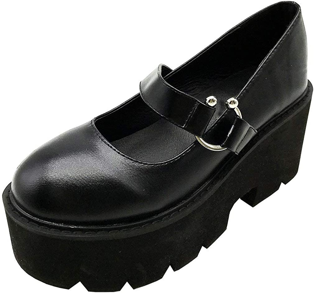 Max 75% OFF Parisuit Branded goods Womens Chunky Platform Gothic Mary Jane High Shoes Heel