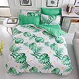 FEBE Microfaser doppelseitige Bettwäsche | 135x200cm | grüne Blätter-Muster | 3-Teilig Bettbezug-Set mit Reißveschluss | Schlafkomfort & Modernes Design | Waschmaschinenfest