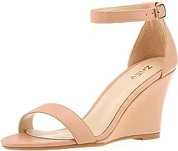 ZriEy Women's Ankle Strap Buckle Mid Wedge Platform Heeled Sandals 8CM Summer Dress Sandals Pump Shoes