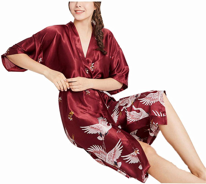 YOJDTD Pajamas Nightgown Nightdresses Women's Pajamas Home Clothes, Wine red, XXL