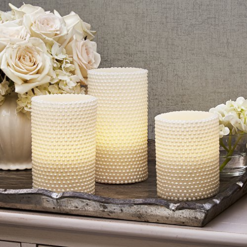 Decorative Textured Flameless Candles Set, Flickering Pearl Candle with Remote by LampLust, 4/8 Hr Timer, Real Wax, White LED Glow, Indoor use - Set of 3