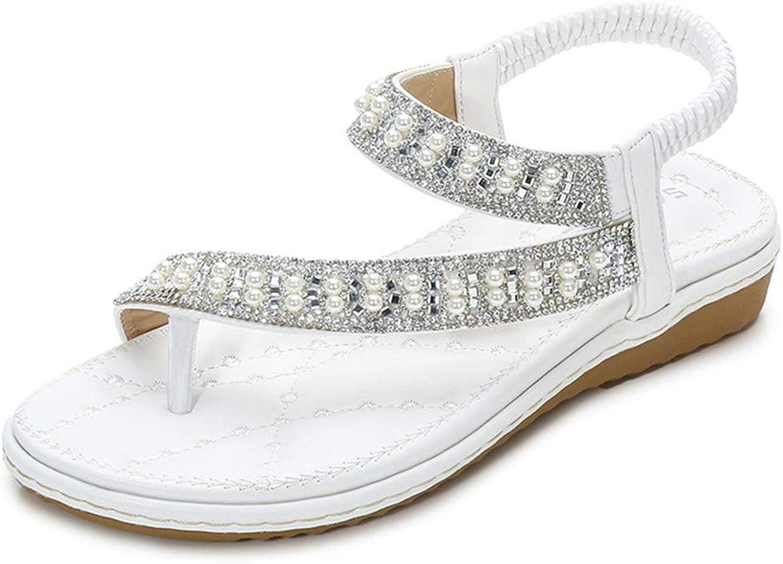 Flip-Flops for Women's, Beach shoes, Thongs Sandals Bohemian Beaded Flat Strap Clip Toe Sandals Rhinestone Design Summer Sandals