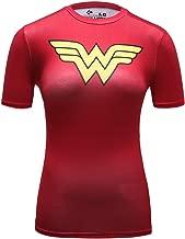 Red Plume Women's Compression Fitness Sport T-Shirt,Wonder Woman Short-Sleeve