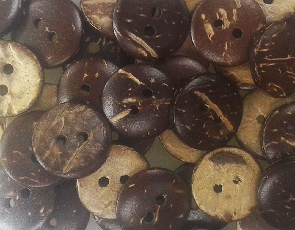 Nesha Brand Coconut Shell Sewing and Craft Buttons 13mm (1/2 inch)