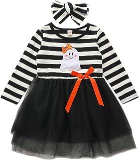 Toddler Baby Girls Halloween Pumpkin Dress Striped Tutu Dress with Headband Outfit Fall Clothes