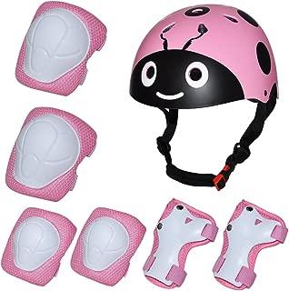Kiwivalley Adjustable Helmet Kids Knee Pads,7Pcs Bike Skateboard Helmet Knee Elbow Wrist Protective Gear Set for Girls and Boys Tricycle Roller Skating Cycling Bike Skateboard (3-7 Years Old)