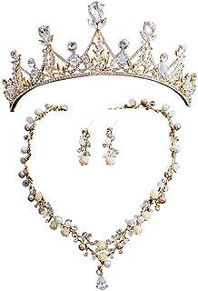 YNYA Tiare Bridal Crown Headband Headdress Orecchini Necklace Set Wedding Dress Crown Dress Accessori Wedding Accessori pe...