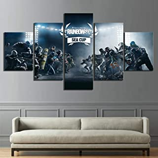 Jl Wall Art Canvas Prints 5 Piece Tom Clancy's Rainbow Six Siege Game Prints on Canvas Pictures Decor for Living Room,B,20x352+20x452+20x551