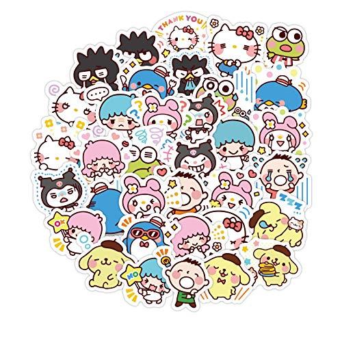 YLGG 40 Pegatinas de Graffiti Impermeables de Sanrio de Dibujos Animados para portátiles, patinetas, Maletas, Cascos, teléfonos móviles, Motocicletas, etc.