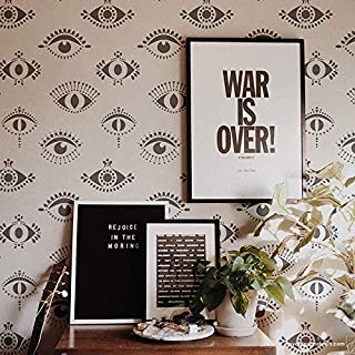 Protective Eyes Wall Stencil - Evil Eye Wallpaper Stencil Design - All Seeing Eyes Wall Pattern for Painting - Bohemian Stencils - Moroccan Stencils - Boho Wall Art for Bedroom or Living Room