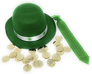 Green Derby Hat (BONUS GLITTER SHIMMERS) Luck Patricks Patrick with Green Sequined Tie and GOLD COINS