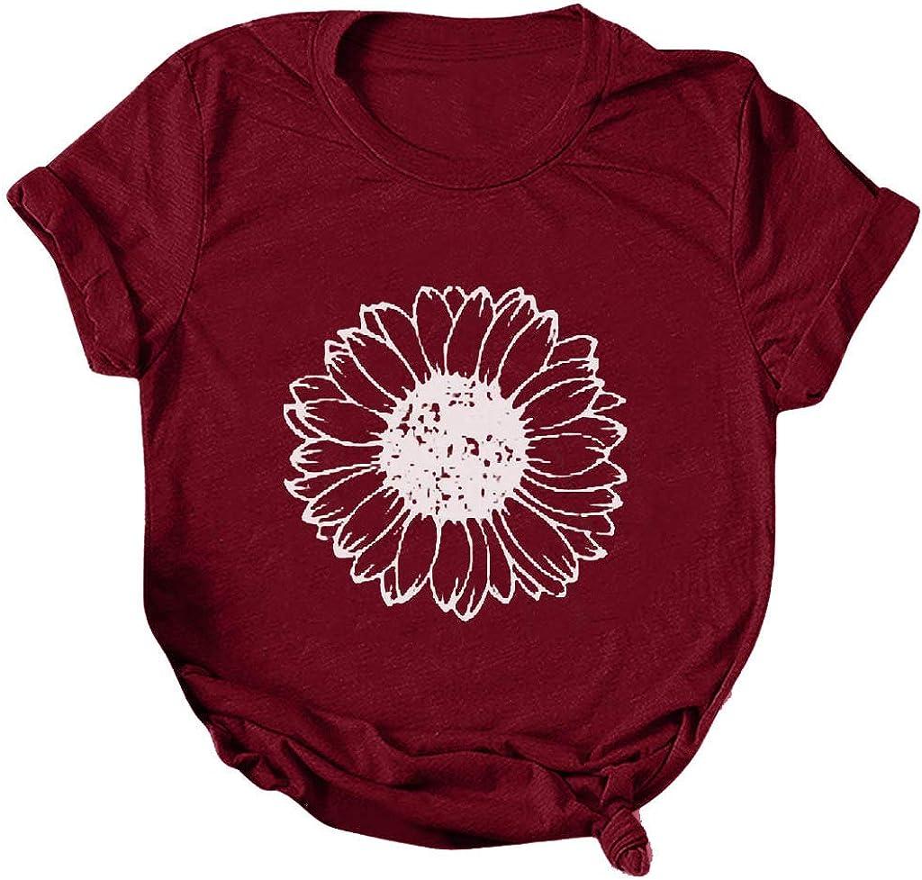 KYLEON Women Tulsa Mall T Shirts Casual Cute Print Summer Tees Floral Superlatite Tops