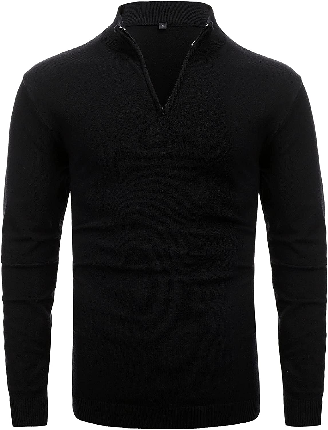 Yhjh Men's Solid Color High-Neck Sweater Zipper Long-Sleeved Slim Fit Turtleneck Soft Comfy Polo Autumn Winter Pullover