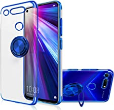 Honor View20 Case, [with 360° Ring Stand ] Crystal Clear [Electroplated Metal Technology] Silicone Soft TPU [Shockproof Protection] Ultra Thin Cover for Huawei (View20, Blue)