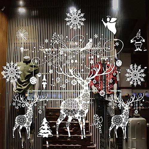 Frohe DIY Fensteraufkleber Weihnachtsdekoration Weihnachtsfenster Wandtattoos Aquarell Weihnachtsmann Und Rentier Wandaufkleber Kinderzimmer Home Party Schaufensterdekoration