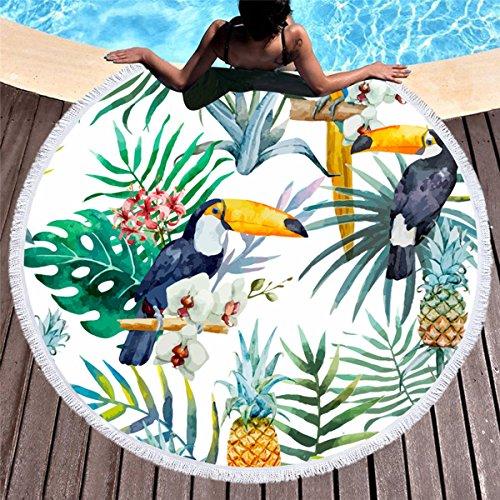 Koongso - Toalla de Playa de Microfibra con Estampado de pájaros, Mantel Redondo, Suave, Multiusos, Manta de Playa con borlas, Yoga/Picnic/Camping