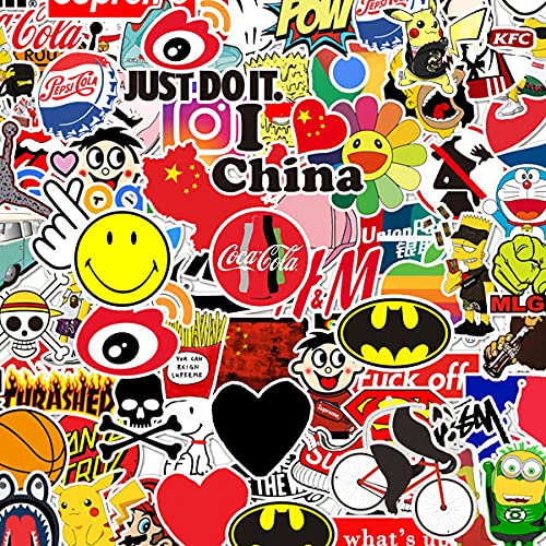 100 Packs Fashion Random Stickers for Adults Teens, Cool Stickers Decals for Laptop, Skateboard,Water Bottles,Helmet ,Bicycle
