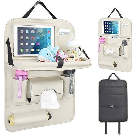 Rückenlehnenschutz Auto Autositzschoner Rückenlehne Kinder Auto Organizer Mit Faltbares Ipad Tablet Halter Tablett Multi Pocket Sitzschoner 1 Pack Beige Baby