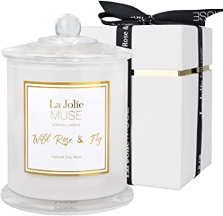 LA JOLIE MUSE Wild Rose & Fig Scented Candle, Candles Gifts for Women, Candles for Home Scented, Natural Soy Jar Candle fo...