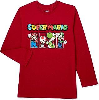 Nintendo Boys Super Mario Kart Long Sleeve Graphic Tee Shirt Top (8, Maroon)