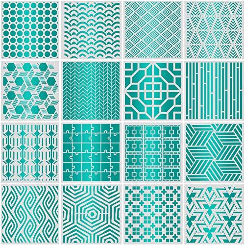 16 plantillas geométricas de pared grandes (30 x 30 cm), de efco, de plástico reutilizables, para paredes, suelos, azulejos, madera, decoración textil, muebles, scrapbook diario, decoración del hogar