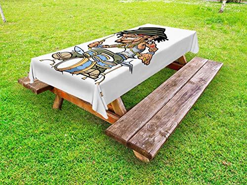 ABAKUHAUS Schlagzeug Outdoor-Tischdecke, Wild Rock Musiker Tattoos, dekorative waschbare Picknick-Tischdecke, 145 x 305 cm, weiß Multicolor