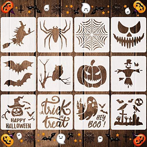 12 plantillas de Halloween reutilizables de plástico Halloween Tema Dibujo plantillas para pintar en paredes de madera Telas Ventana…
