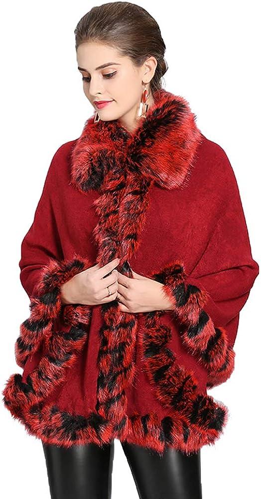 Fenghuavip Winter Capes Faux Fur Shawl Wraps Wedding Cloak with Fur Collar