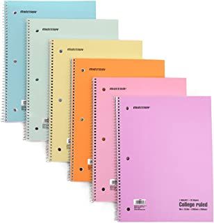 Mintra Office Spiral Notebooks Mintra Office Spiral Notebooks - Pastel, College Ruled, 6 Pack, For School, Office, Busines...