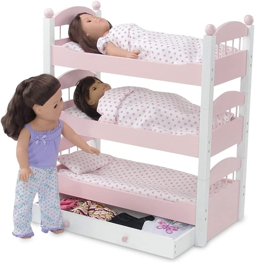 Buy Emily Rose 18 Inch Doll Bunk Bed Doll Furniture Doll 18 Triple Bunkbed Includes 3 Stackable Single 18 Doll Beds And 18 Inch Doll Clothes Storage Drawer Fits 18