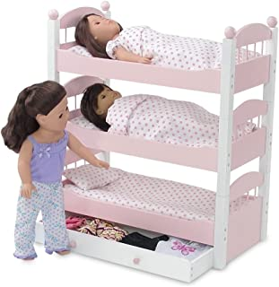 Emily Rose 18 Inch Doll Bed Furniture | Pink and White Triple Bunk Bed, Includes 3 Stackable Single Beds and Doll Clothes Storage Trundle Drawer | Fits 18