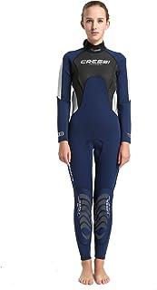 Cressi 女式 Morea 女士 3mm 优质氯丁橡胶全长潜水服,蓝色,L 码