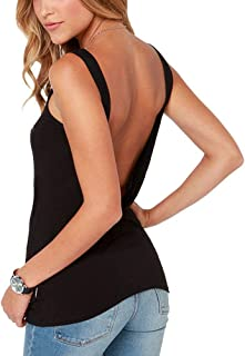 Women's Cute Open Back Stretchy Tank Top Cute Casual Shirt