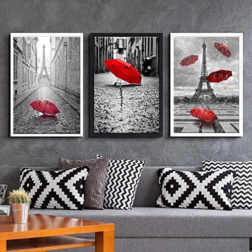 jjshily Leinwand Gemälde Wandkunst Drucke Wohnkultur Wohnzimmer Poster 3 Stück Schwarz Weiß Eiffelturm Mit Roten Regenschirm Bilder, 30X40