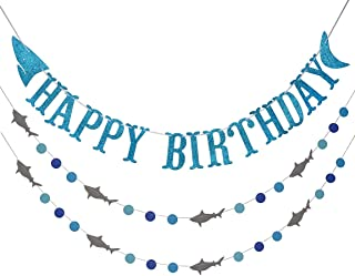 Shark Happy Birthday Banner and Shark Garlands, Ocean Beach Under The Sea Theme Party, Shark Party Supplies (Blue)