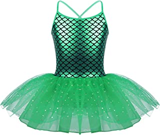 Girls Sequined Mermaid Scales Ballet Tutu Dress Princess Party Dance Halloween Costumes