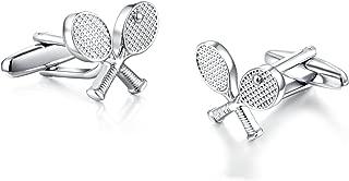 Honey Bear Tennis Racquet Silver Cufflinks