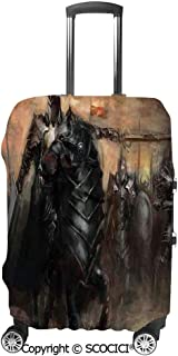 Travel Luggage Cover Suitcase Cover King with Armor Leading His Army War Evil and Good Ancient City Illustration Suitcase Luggage Case Covers Fits 19-32 Inch