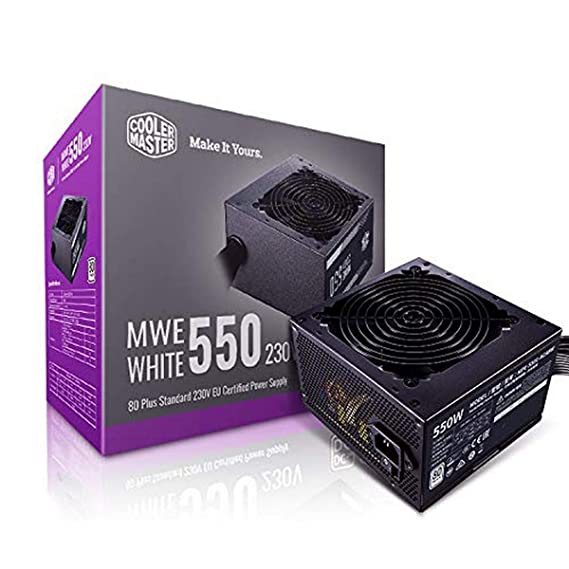 Cooler Master MWE 550W,80+ White 230V A/UK Cable Power Supply