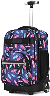 ZTHUAYUAN Women's Mini Backpack Trolley Backpack, Multifunction Nylon Waterproof Wheeled Rolling Rucksack for Boys and Girls School Student Books Laptop Travel Trolley Bag Daypack (Color : 1)