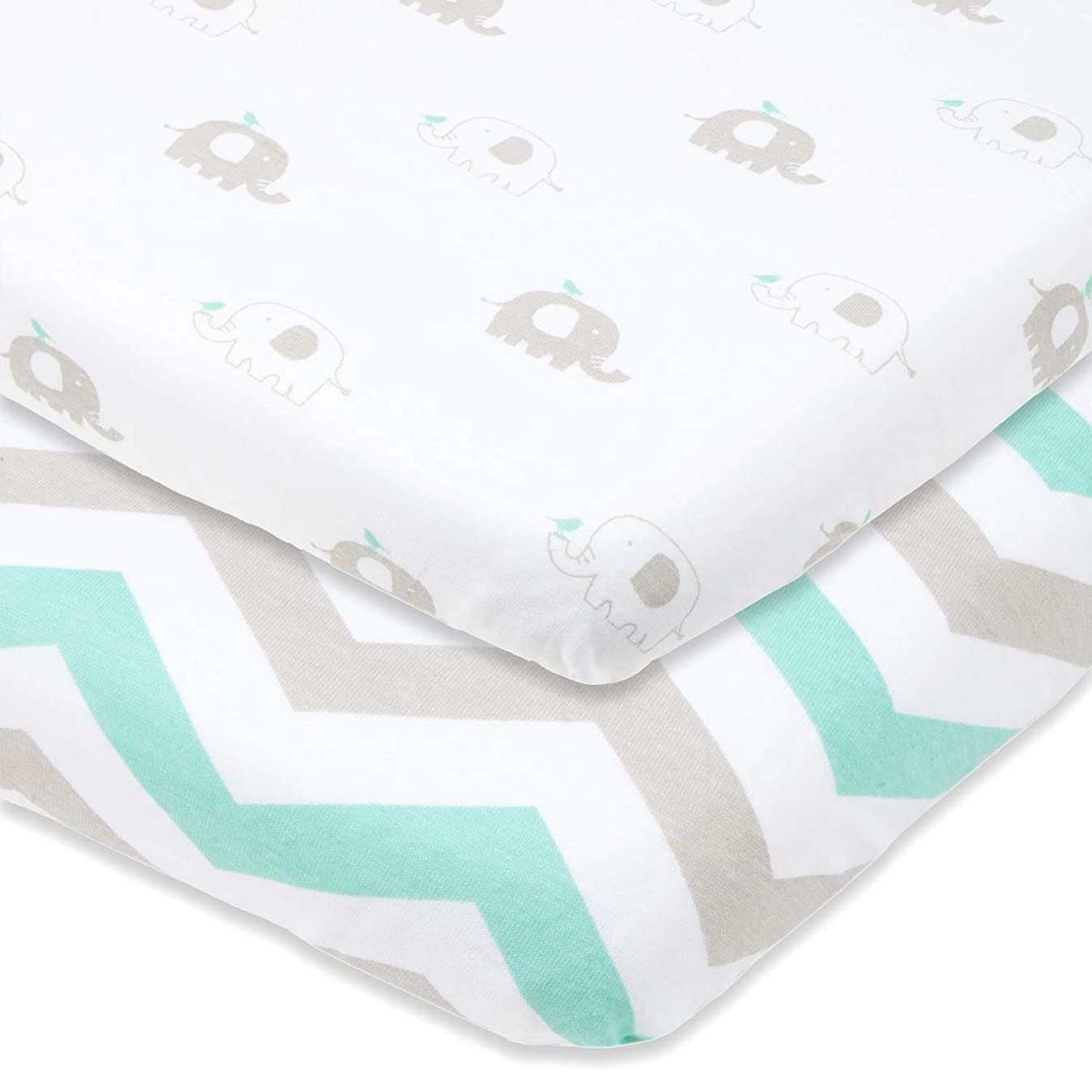 Bassinet Sheets Set 2 Pack for Boy & Girl by Cuddly Cubs | Soft & Breathable 100% Jersey Cotton | Fitted Elastic Design | Mint & Grey Chevron & Elephant | Fits Oval, Halo, Chicco Lullago, Bjorn, Lotus