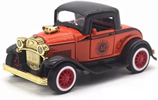 LW Vintage Cars Retro Style 1:32 Hard Top Vintage Cars Scale Diecast Car Model Collection Light&Sound (Red)