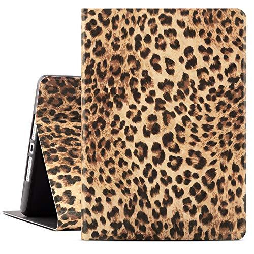 Drodalala 10.2 inch iPad Case,ipad 7th Generation case,iPad 8th Generation Protective Cover with Premium Leather Soft TPU Adjustable Viewing Stand iPad Cover 10.2-Auto Wake/Sleep(Leopard Cheetah)