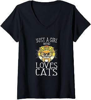 Femme Juste Une Fille Qui Aime Les Chats Chaton Amoureux Des Chats T-Shirt avec Col en V