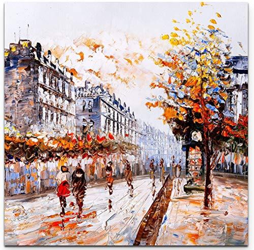 NJYBF Cuadro en lienzo de pintura abstracta, lienzo de calle en París, pintura al óleo para salón, decoración del hogar, sin marco (60 x 60 cm)