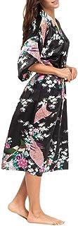 サテンレディース着物ローブ 孔雀と花柄 浴衣式 バスローブ ロングドレス コスチューム