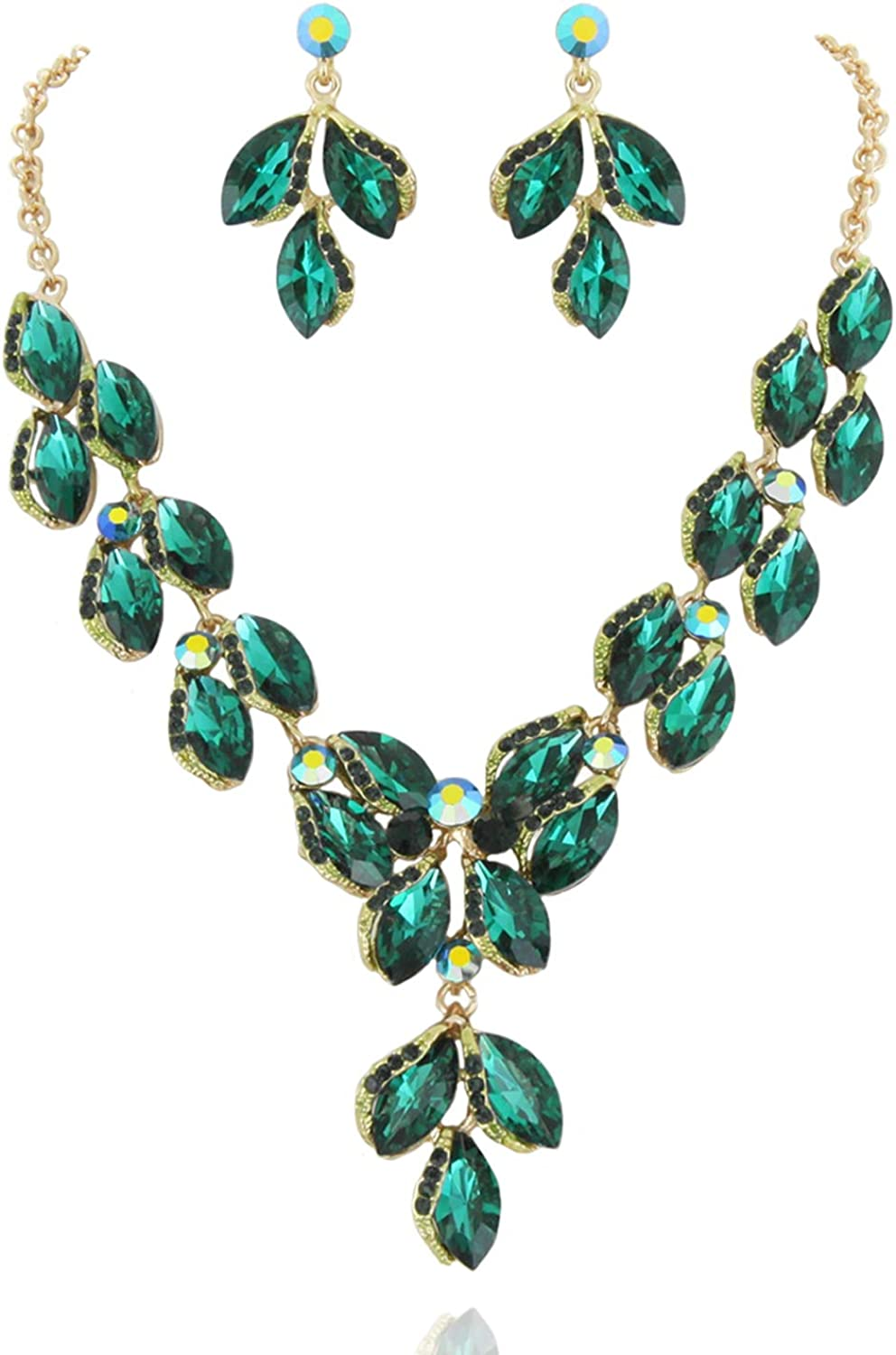 SP Sophia Collection Stunning Leaf Droplet Austrian Crystal Rhinestone Bridal Jewelry Necklace and Stud Post Dangle Earring Set