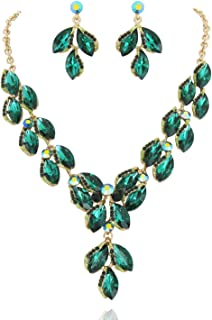 Stunning Leaf Droplet Austrian Crystal Rhinestone Bridal Jewelry Necklace and Stud Post Dangle Earring Set