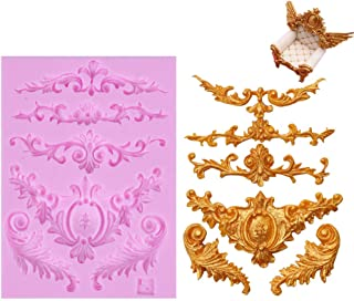 Efivs Arts DIY 3D Sculpted Flower royal Lace baroque scroll Silicone Mold Fondant Mold Cupcake Cake Decoration Tool